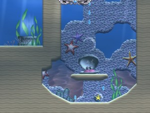 A screen shot depicting Juju Ball's Water World, complete with clam.